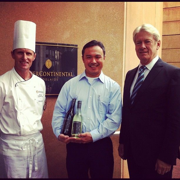 Winner of our 'Name Our Wine' competition with Executive Chef Tony Hart & GM James Allen #Adelaide