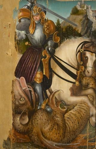 LUCAS CRANACH (1472 - 1553) - St. George Slaying the Dragon - 1510-20. Kunsthistorisches Museum, Gemäldegalerie.TABLA CON DESGASTES NOTORIOS EN UNION DE PANELES Y TINTAS NEUTRAS EN GRANDES PERDIDAS DE PINTURA.