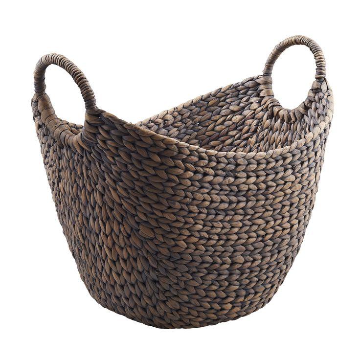 OWLI - Casafina - Water Hyacinth Storage Basket with 2 Handles in Grey