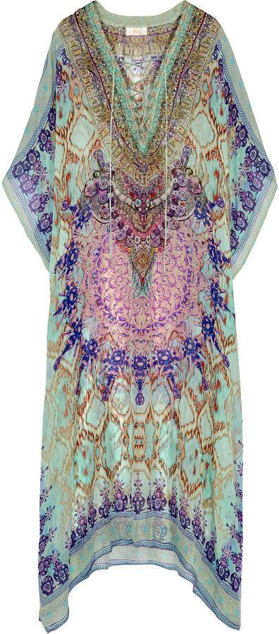 Camilla Sarayi Embellished Printed Silk-Chiffon Kaftan