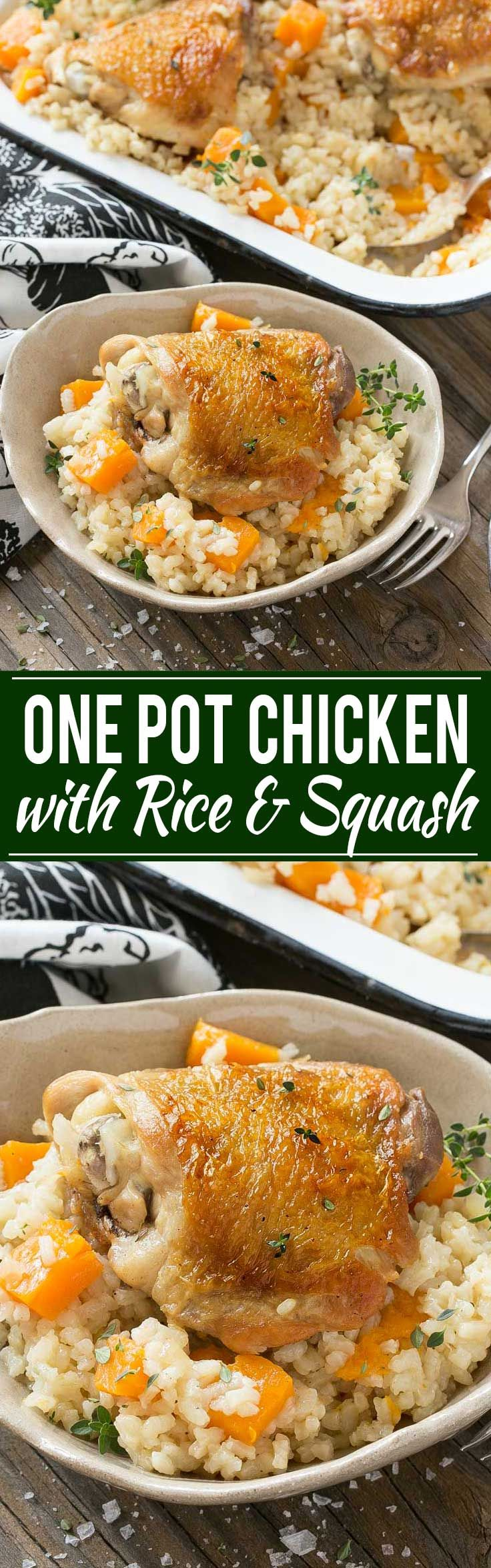 On Pot Chicken and Rice with Butternut Squash - A complete meal of chicken, rice and butternut squash all cooked together in one pot.