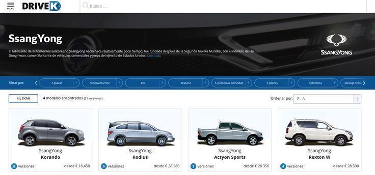 Configura tu coche surcoreano #Ssang Yong en #DriveK.  https://www.drivek.es/ssangyong/