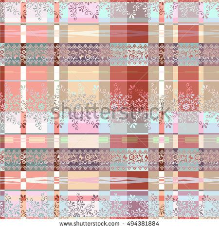 Patchwork abstract seamless pattern texture dark background with decorative elements.
