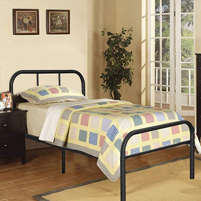 Kingpex Metal Bed Frame Twin Size Black 6 Legs Platform Mattress