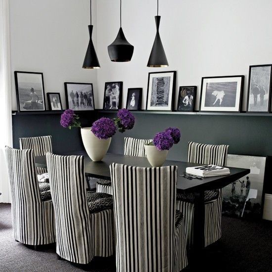 Definitely a look I'd like for the dining area in our Belfast pad!Decor, Dining Rooms, Ideas, Dining Area, Black And White, Diningroom, Black White, Chairs Covers, Black Wall