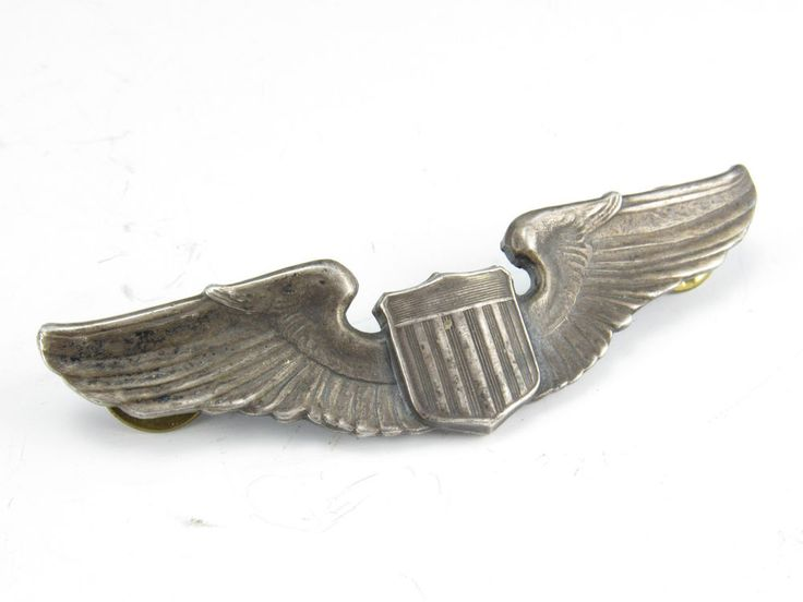 Vintage Wwii Sterling Silver Pilot Wings Us Army Air Corps