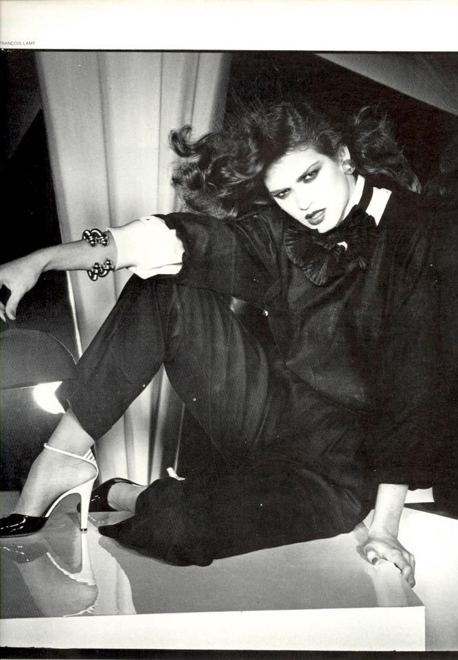 Gia Carangi and Lena Kansbod photographed by Francois Lamy, with makeup by Tyen, for Vogue Italia, March 1979.