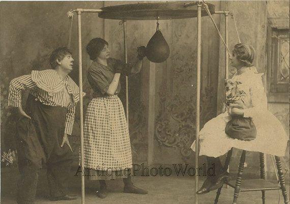 Boxing woman clown dog amazing antique comedy theater by ArtNotch