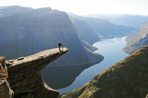 Trolltunga is a narrow shelf that struts horizontally out from a cliff 350 meters above Ringedalsvatnet in Hardanger.