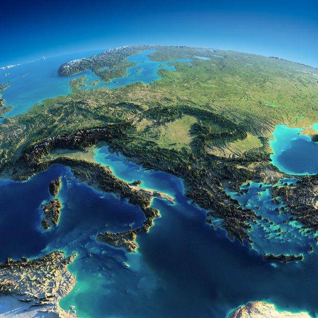 Eastern Europe. These interesting relief maps have been created by Anton Balazh with elements furnished by NASA