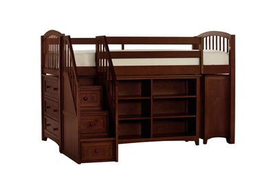 Junior Loft Bed with Cases and Stairs in Cherry