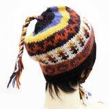 Wool Blend Multicolor Cap Hand Knitted Hat Winter Stylish Women Wear Accessory