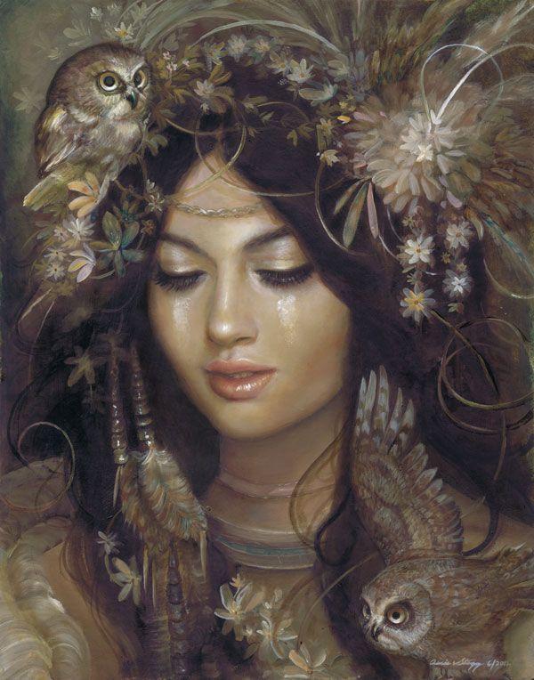 Blodeuwedd: A Welsh goddess of flowers, the wisdom of innocence, Lunar Mysteries and initiation.  The owl is the totemic representation of Blodeuwedd. (artist: http://raipun.deviantart.com/gallery/)