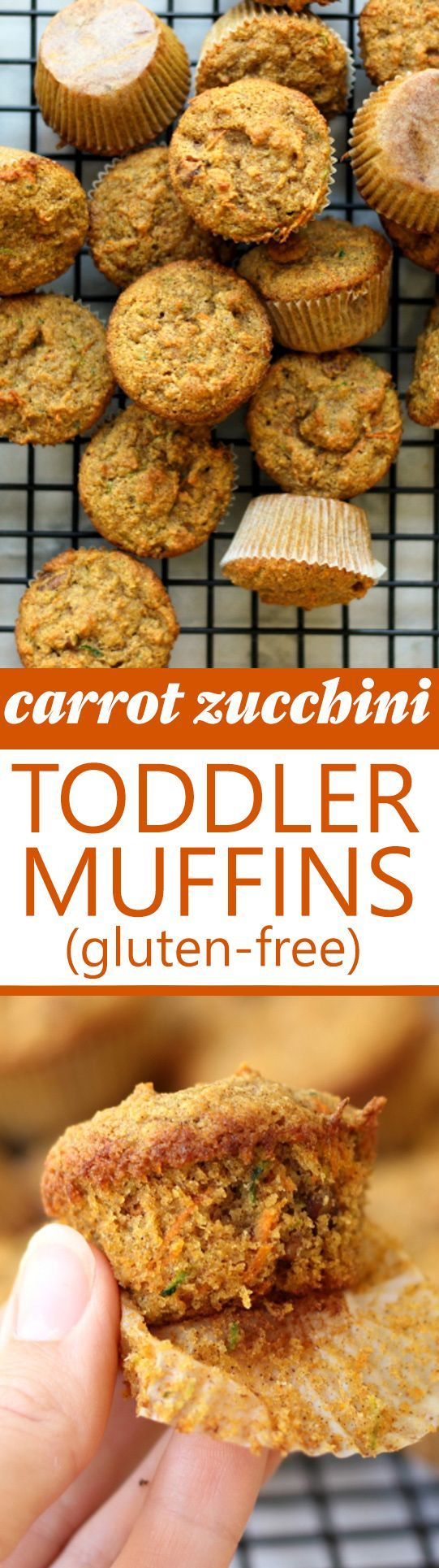 Carrot Zucchini Toddler Muffins! Gluten-free, lightly sweet and full of hidden veggies. A delicious healthy toddler or kid snack!