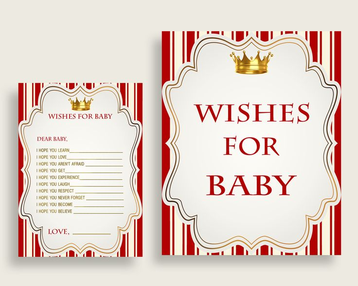 Wishes For Baby Baby Shower Wishes For Baby Prince Baby Shower Wishes For Baby Red Gold Baby Shower Prince Wishes For Baby prints 92EDX #babyshowerparty #babyshowerinvites