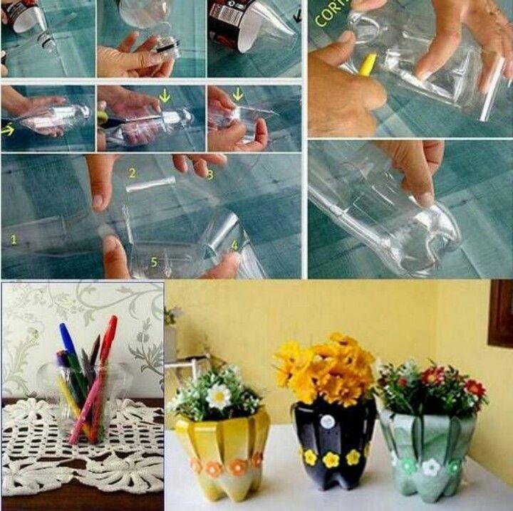 Plastic bottles flower pot