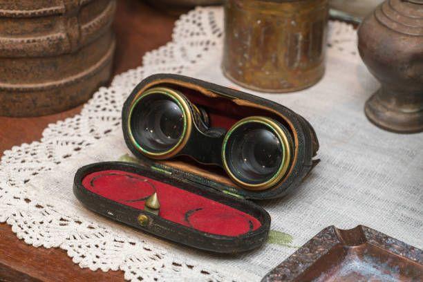 vintage binoculars on the table