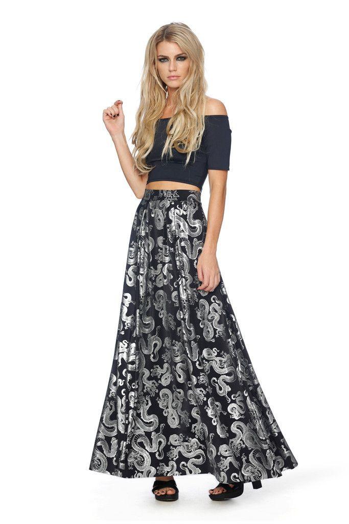 Tatsu Black Box Pleat Maxi Skirt - LIMITED