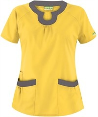 Butter-Soft Scrubs by UA™ Rounded U-Neck Scrub Top $15.99 Lemon Drop w/Grey Stone