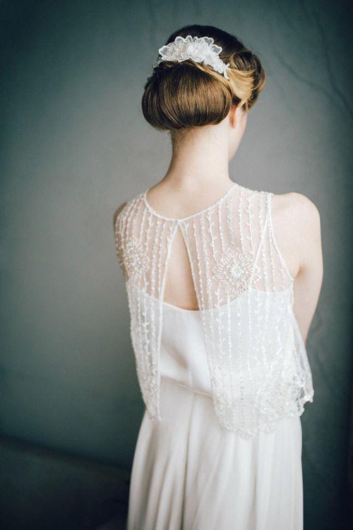 Holly Young Hats Boutique » 'Enchanted' Bridal Hair Comb#hairvine #lace #vintagebride #vintage #artdeco #1920s #wedding #hair #chignion #bun #countrywedding #cornwall #headpiece #headpieces #vine #blossom #weddinginspo