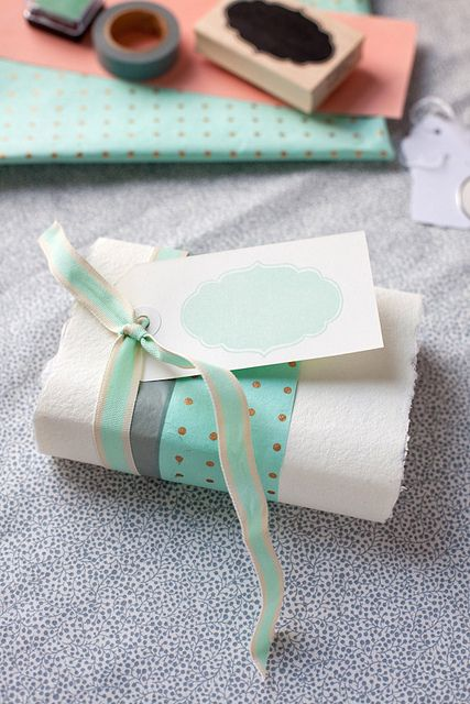 Color Me Pretty #mint #green #blue #gold #packaging #gift #wrapping #presents #ribbon #stamp