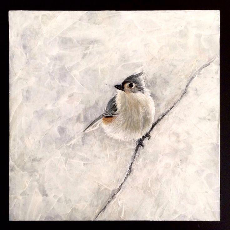 acryl painting on wood bird 1   tufted titmouse 20 x 20 cm 2016