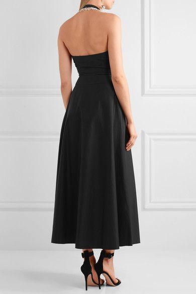 Temperley London - Fountain Lace-trimmed Cotton-poplin Midi Dress - Black - UK12