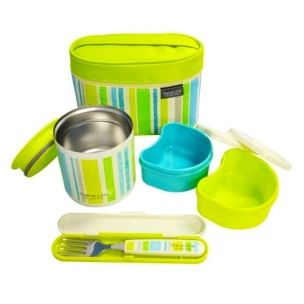 The prettiest thermal lunch box set complete with insulated bag, fork, and snack containers.