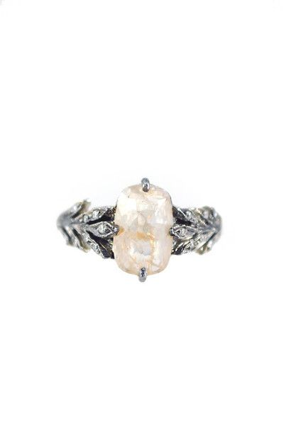 Source: metiersf.com - http://www.metiersf.com/collections/jewelry/products/cathy-waterman-platinum-rustic-leafside-diamond-ring