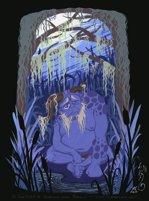 """Bugul Noz- Breton myth: """"night Shepard"""" a forest faery who is extremely ugly. he is so ugly in fact that even the forest animals avoid him. he warns humans of his approach so not to startle them with his image. he is the last of his kind and extremely lonely."""