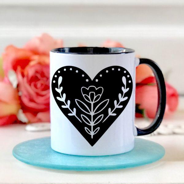 Valentine's Day Floral Heart Mug