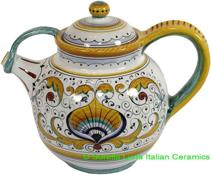 Deruta Italian Ceramic Teapot -   Elegant Teapot in the Peacock style