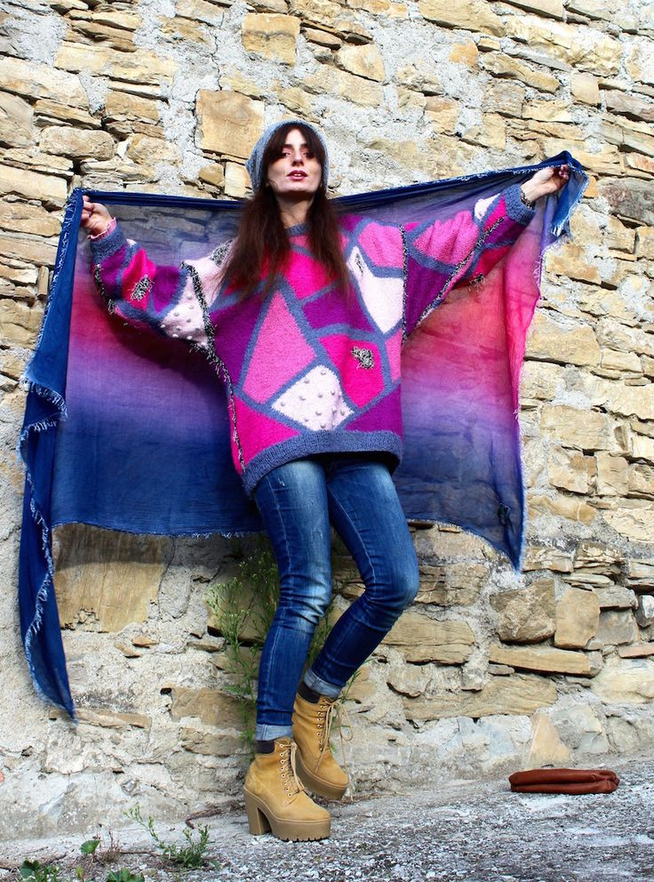 #fuchsia #scarf #madeinitaly #pink #blue #winter #country #ootd #knit