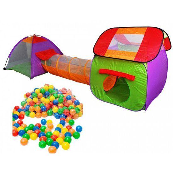 Speeltent - Kindertent - Speeltenten (2x) met 200 ballen en een tunnel (In- & outdoor) DK