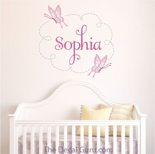 Cute monogram wall decal for baby nursery and childrens room