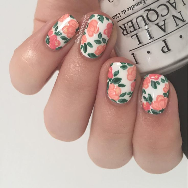 Peach and Green Floral Nails