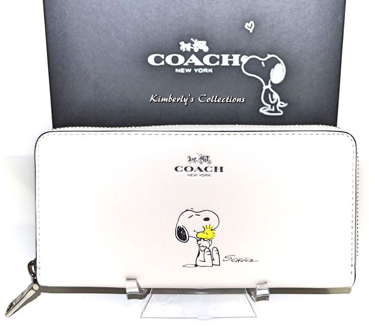COACH X Peanuts Limited Edition SNOOPY Leather Zip Around White Wallet NWT #Coach #ZipAround