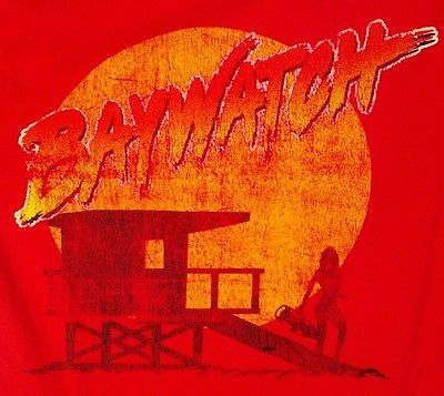Vtg 90s Baywatch T Shirt Medium Red Life Guard David Hasselhoff Pamela Anderson