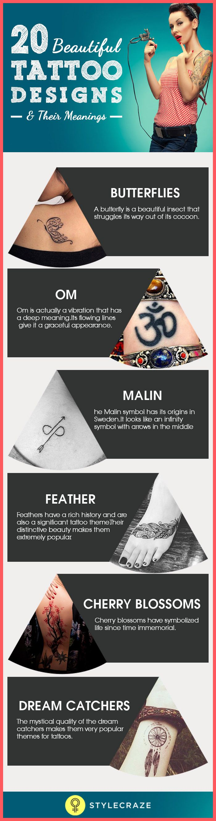 Tattoos are extremely personal, and while they might seem modern, cool, and trendy, they mean much more than a shape or symbol. Here's an in-depth analysis of 20 beautiful tattoos with meanings that might inspire you to get one (if you don't have one already!).