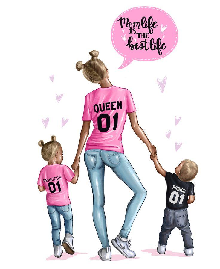 Картинка мама дочь и сын нарисованная