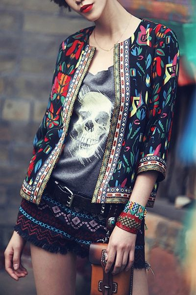 Colorful Floral Print 3/4 Sleeve Coat