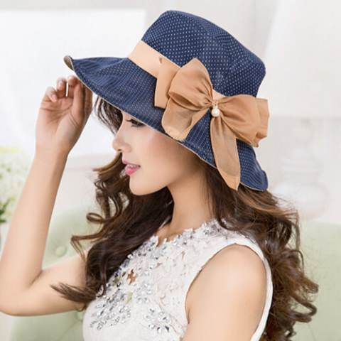 Polka dot bucket hat for women with bow UV ladies sun hats