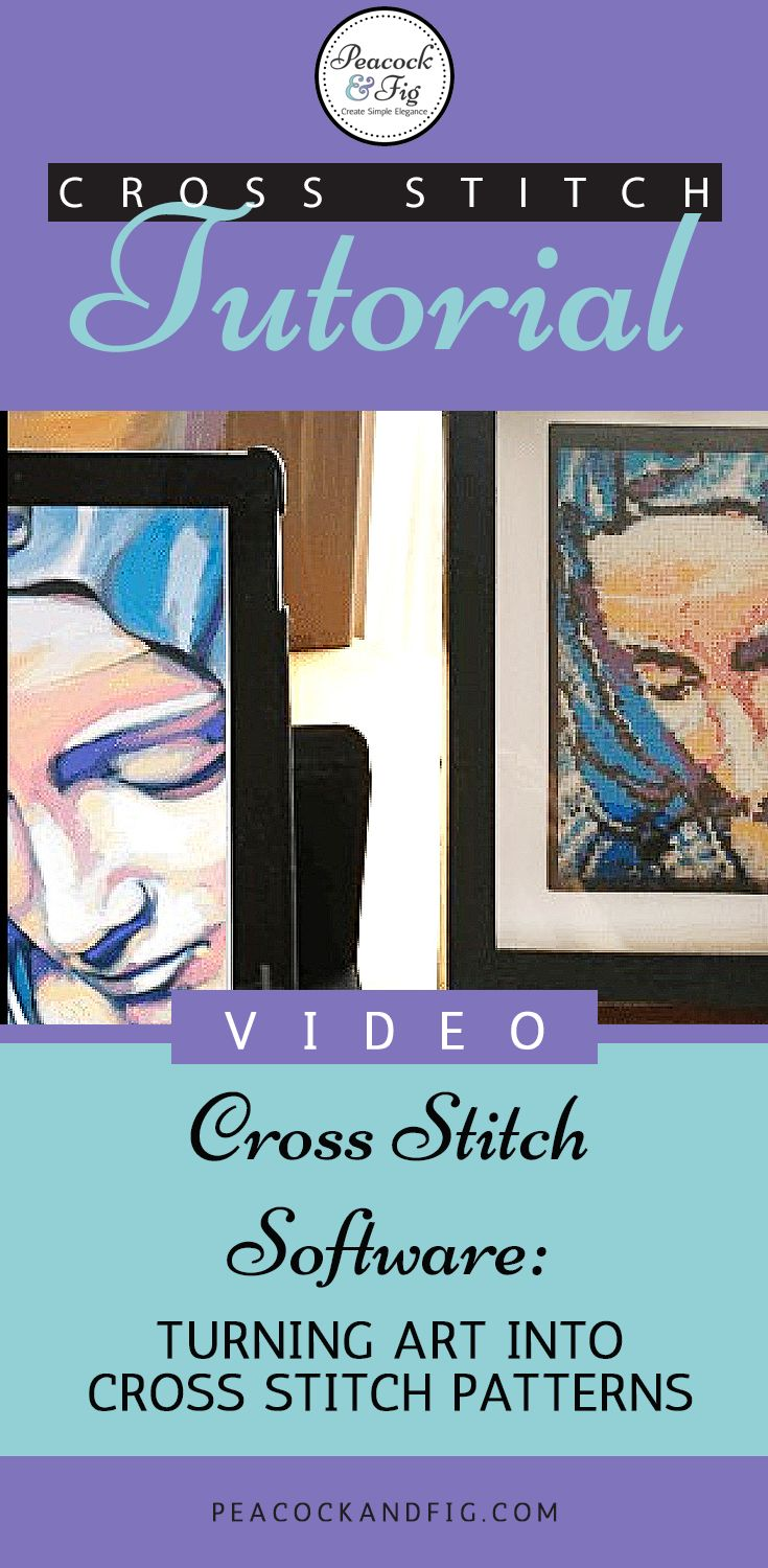 Cross stitch tutorial showing how to use your own art or photographs to create cross stitch patterns with, using MacStitch & WinStitch software.