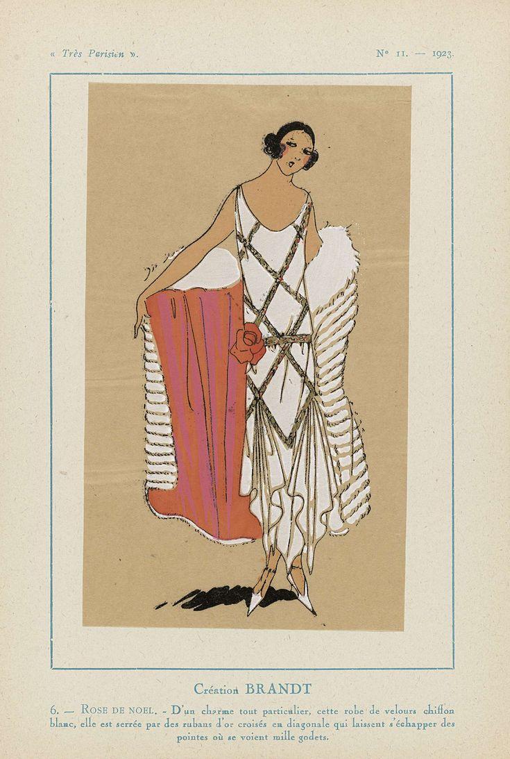 Anonymous | Très Parisien, 1923, No 11: 6.- ROSE DE NOEL. - D'un charme tout particulier..., Anonymous, Brandt, G-P. Joumard, 1923 | Ontwerp van Brandt. Jurk van witte 'velours chiffon' waarover goudkleurige linten, diagonaal gekruist, en aan de onderzijde 'mille godets' (valse plooien). Cape(?) van bont. Bloemcorsage. Prent uit het modetijdschrift Très Parisien (1920-1936).
