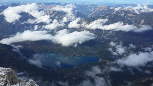View of Eibsee lake from peak of Zugspitze