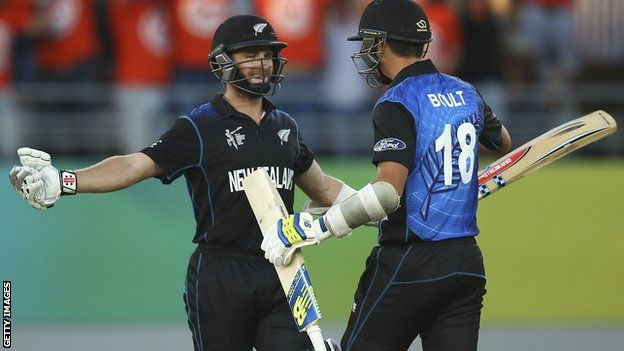 Kane Williamson and Trent Boult.  New Zealand survived a late collapse to beat Australia by one wicket in a thrilling World Cup Pool A game. Chasing a meagre 152 to win, the Kiwis slipped from 131-4 to 146-9 as Mitchell Starc claimed 6-28. However, Kane Williamson (45no) hit Pat Cummins for six to seal victory with 26.5 overs to spare in a wonderfully tense climax at Eden Park in Auckland.