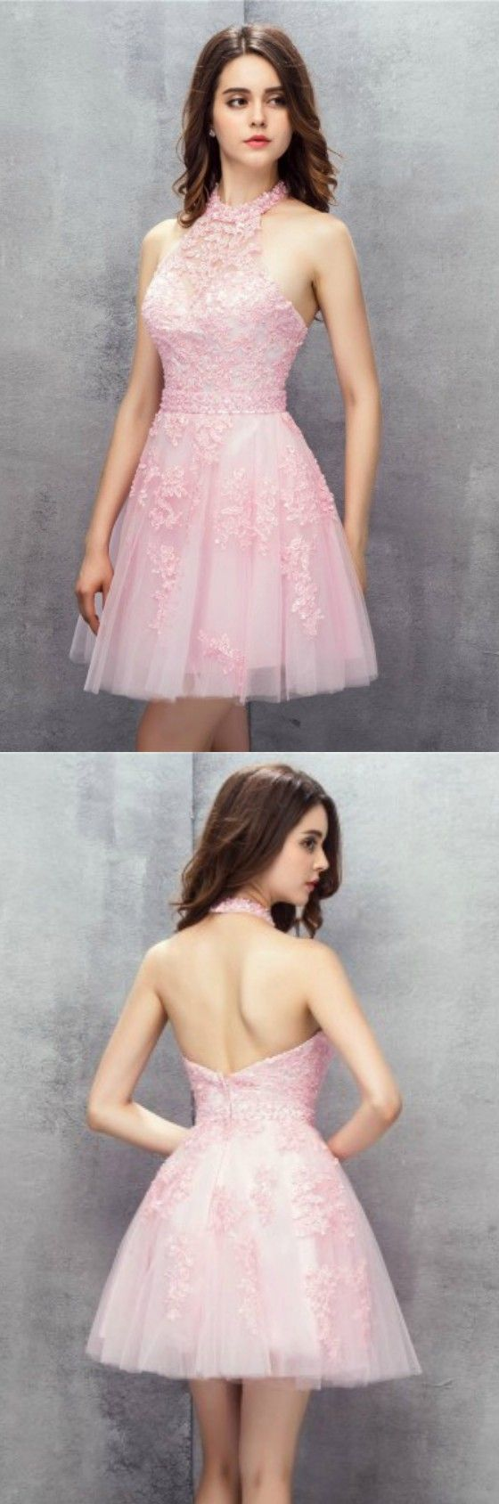 Pink Short Halter Lace Tulle Prom Dress Homecoming Dress