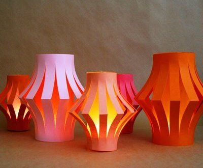 Chinese paper lanterns with battery operated tealights made with Stardream metallic cardstock