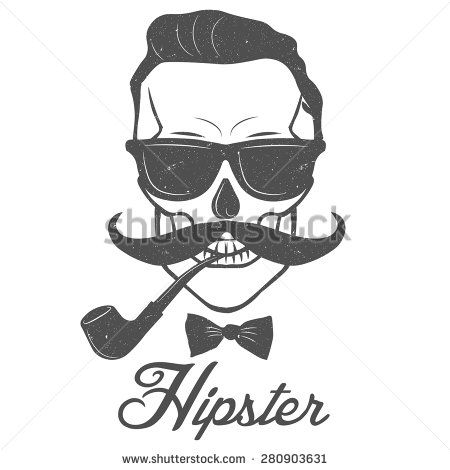 Mustachioed hipster skull Smoking a pipe