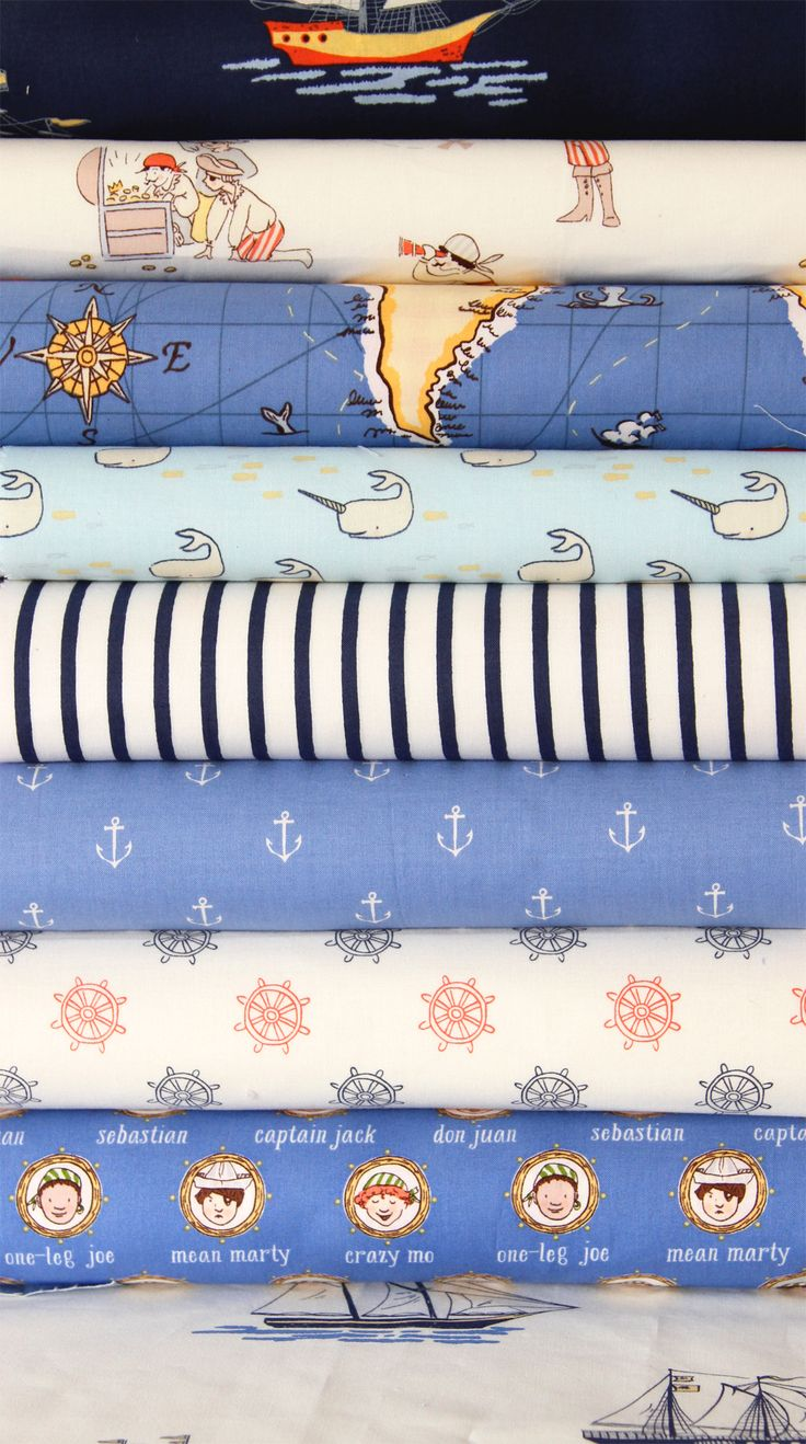 ahoy there color way of OUT TO SEA fabric Sarah Jane: Jane Studios, Pirates Life, Nurseries Beds, Boys Fabrics, Narwhals Fabrics, Nautical Theme, Nautical Fabrics, Nautical Prints, Sea Fabrics